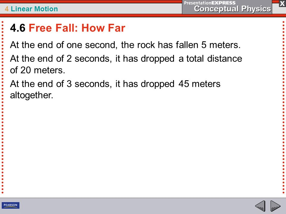 4.6 Free Fall: How Far At the end of one second, the rock has fallen 5 meters.