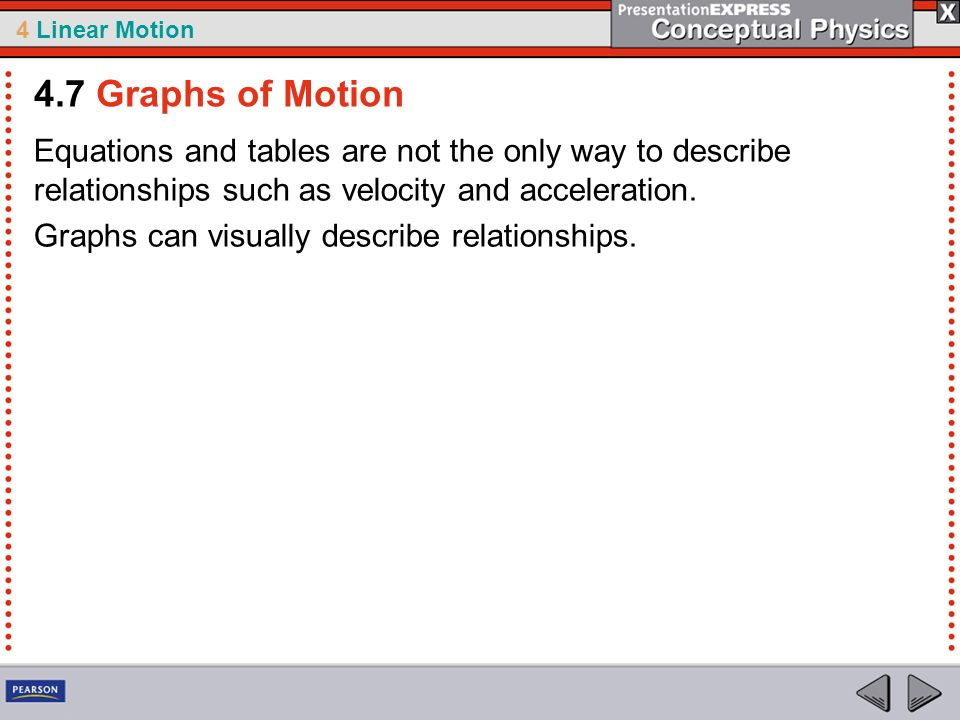 4.7 Graphs of Motion Equations and tables are not the only way to describe relationships such as velocity and acceleration.