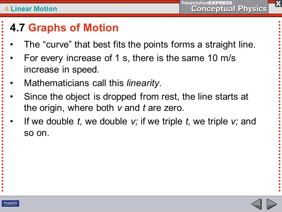 4.7 Graphs of Motion The curve that best fits the points forms a straight line.