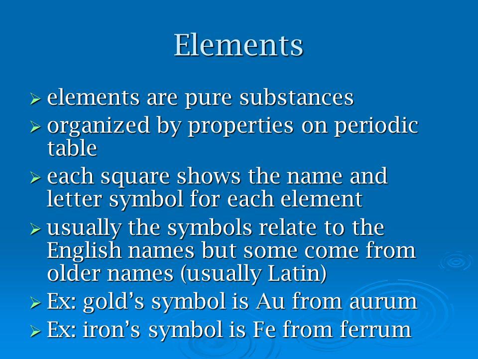 Elements elements are pure substances
