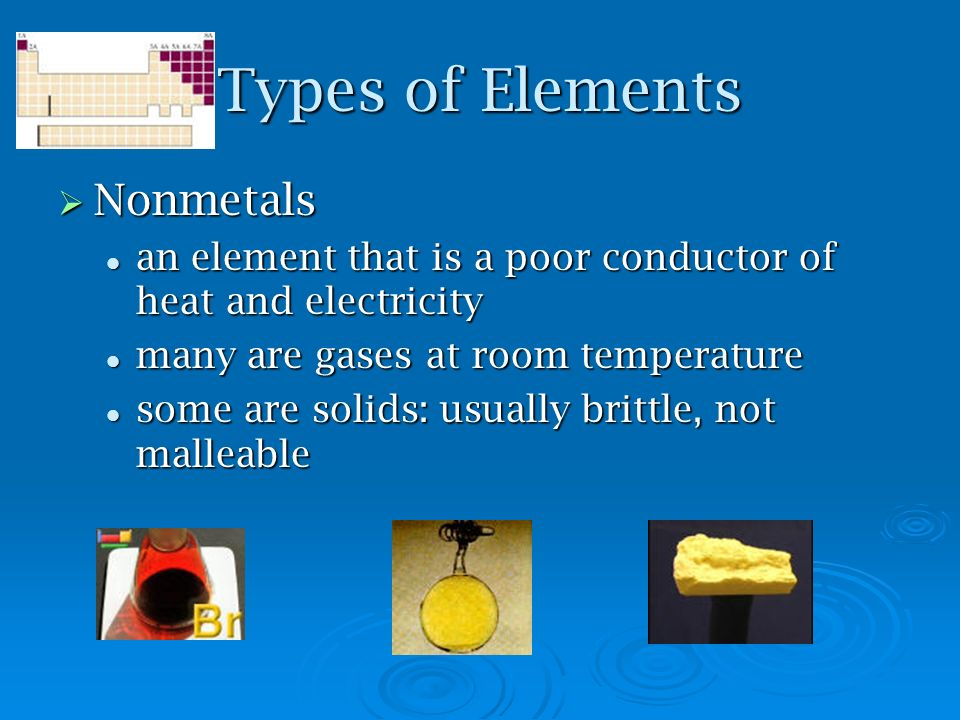 Types of Elements Nonmetals