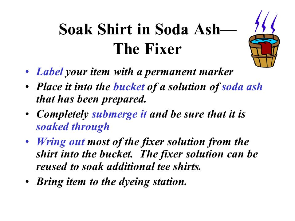 Soak Shirt in Soda Ash— The Fixer