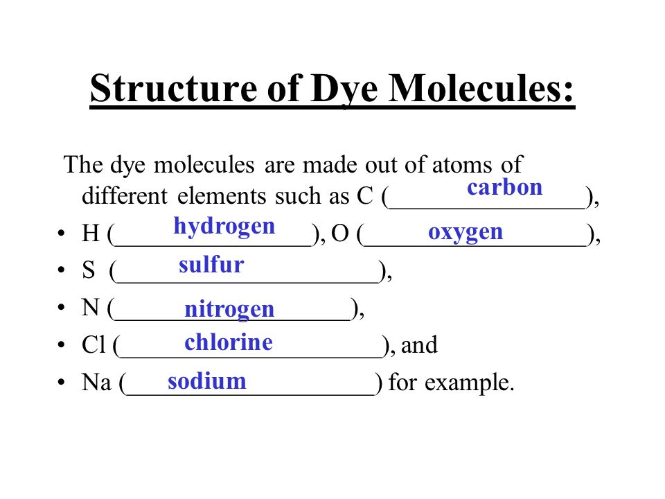 Structure of Dye Molecules: