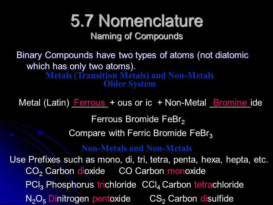 5.7 Nomenclature Naming of Compounds