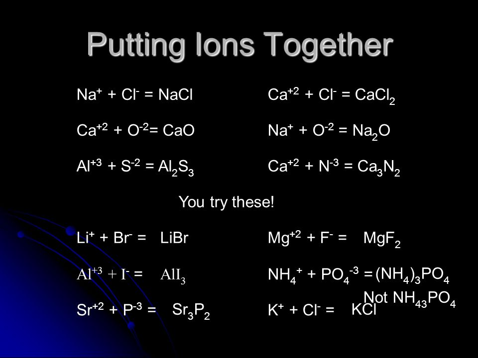 Putting Ions Together Na+ + Cl- = NaCl Ca+2 + Cl- = CaCl2