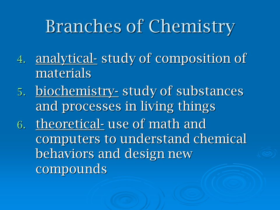 Branches of Chemistry analytical- study of composition of materials