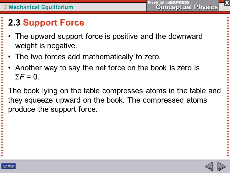 2.3 Support Force The upward support force is positive and the downward weight is negative. The two forces add mathematically to zero.