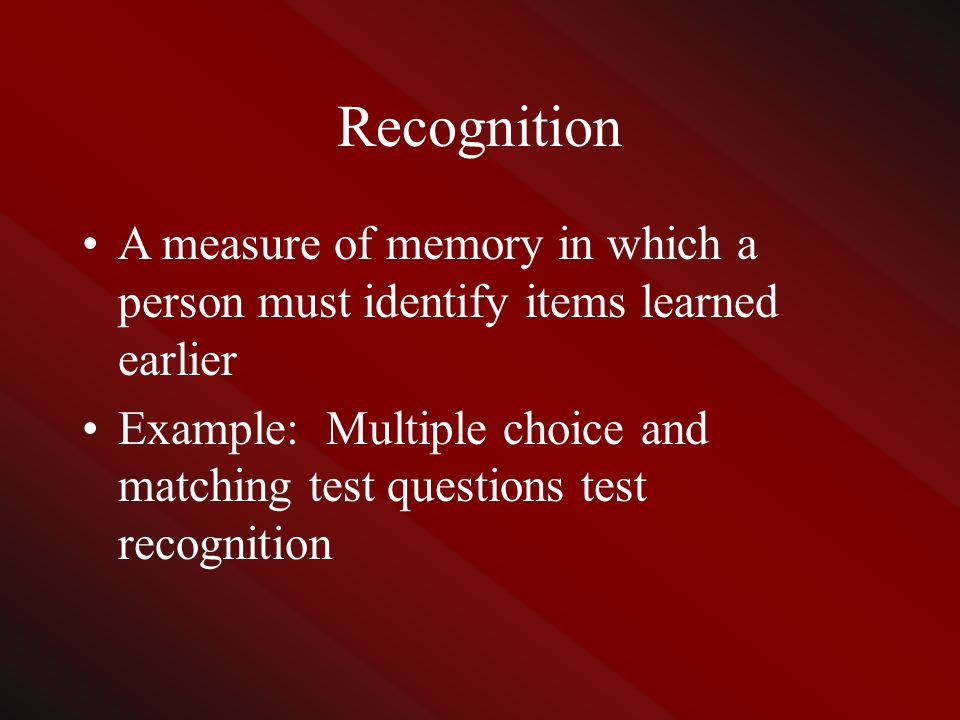Essay questions measure which type of memory