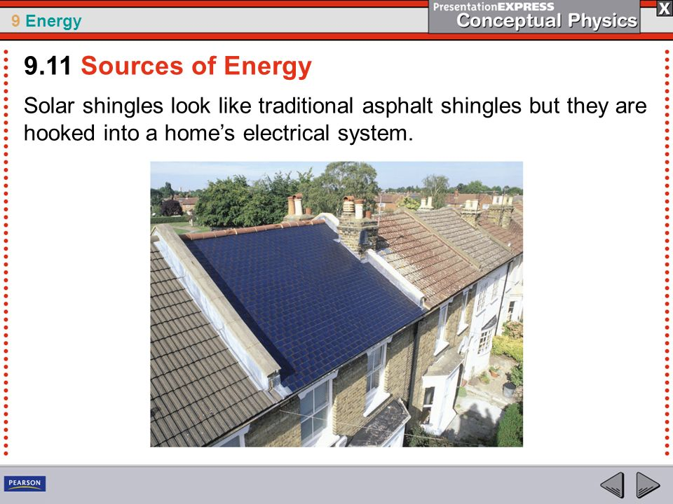 9.11 Sources of Energy Solar shingles look like traditional asphalt shingles but they are hooked into a home's electrical system.