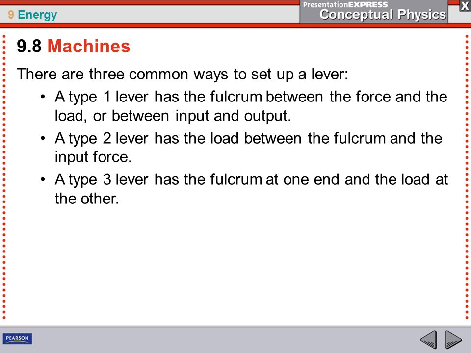 9.8 Machines There are three common ways to set up a lever: