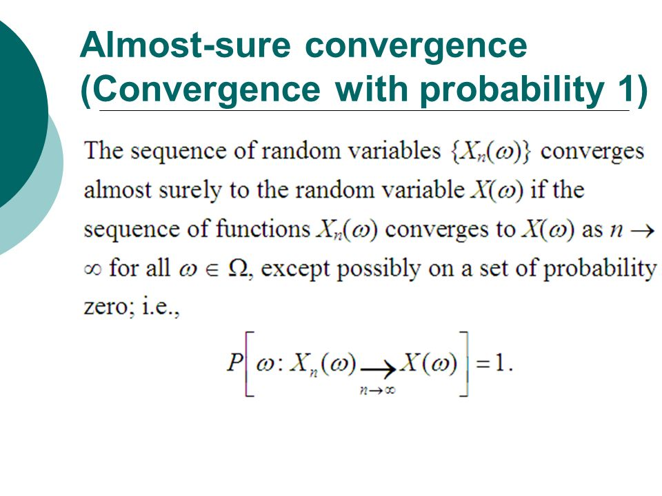 Almost-sure convergence (Convergence with probability 1)