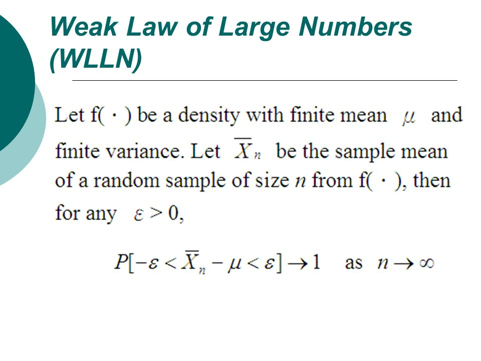 Weak Law of Large Numbers (WLLN)