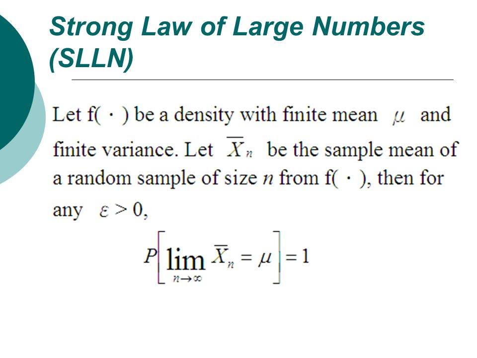 Strong Law of Large Numbers (SLLN)