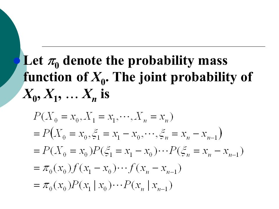 Let 0 denote the probability mass function of X0