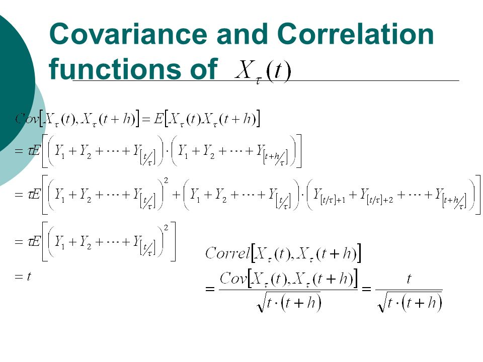 Covariance and Correlation functions of