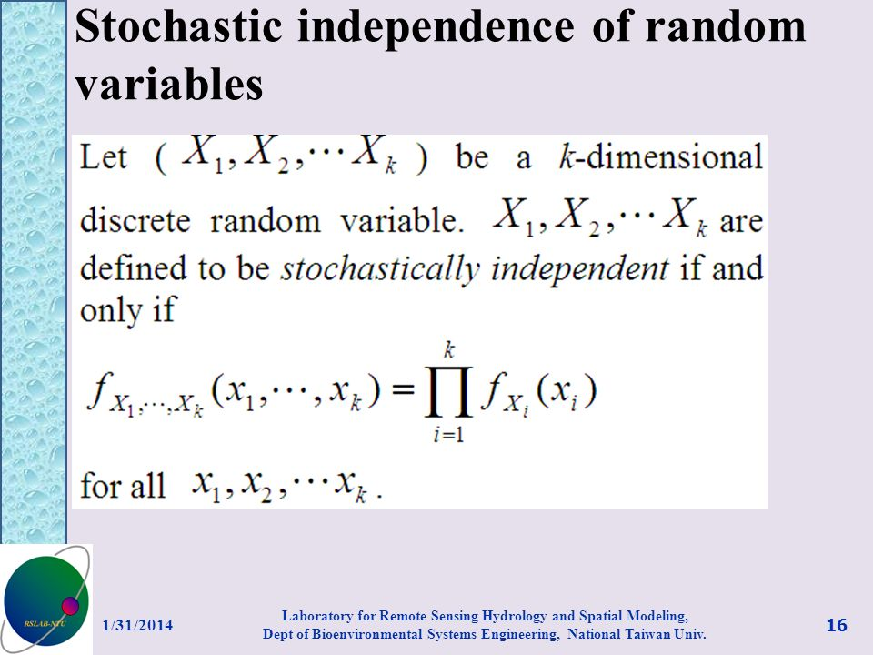 Stochastic independence of random variables