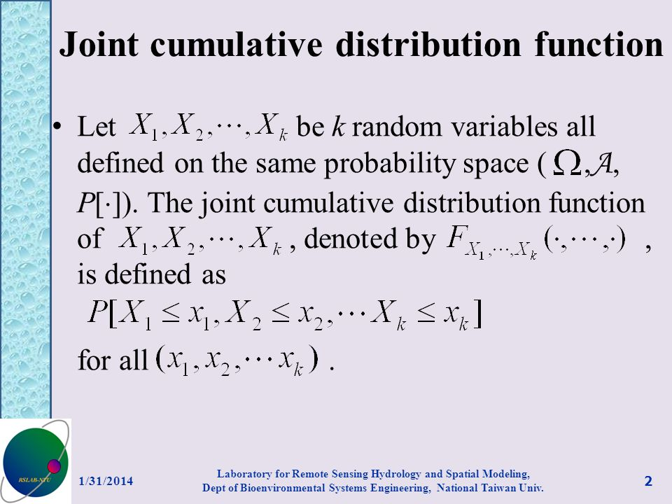 Joint cumulative distribution function