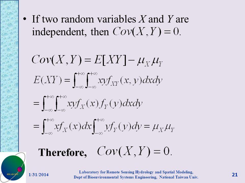 If two random variables X and Y are independent, then