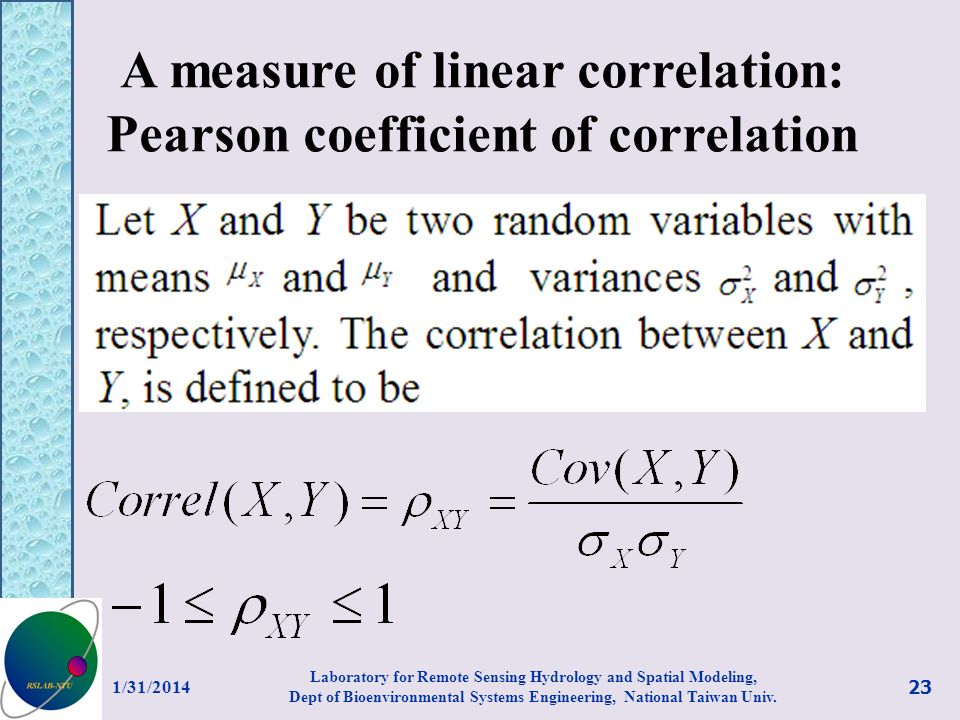 A measure of linear correlation: Pearson coefficient of correlation