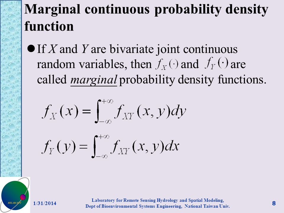 Marginal continuous probability density function