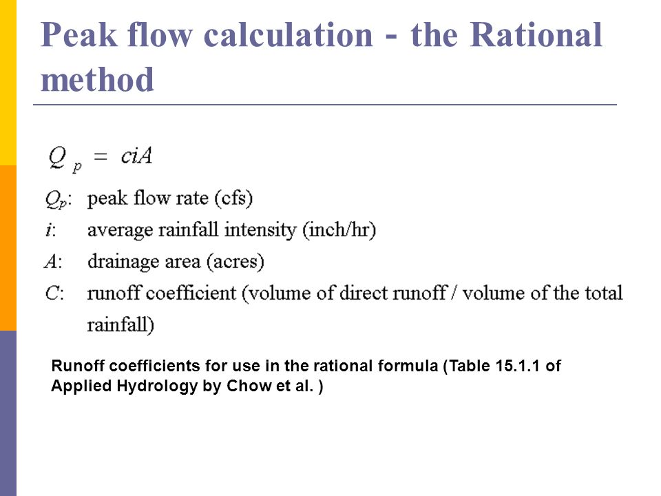 Peak flow calculation-the Rational method