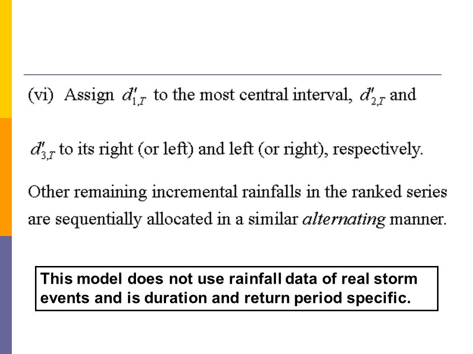 This model does not use rainfall data of real storm events and is duration and return period specific.