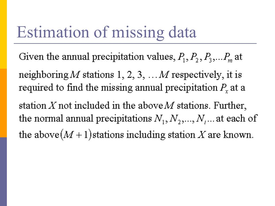 Estimation of missing data