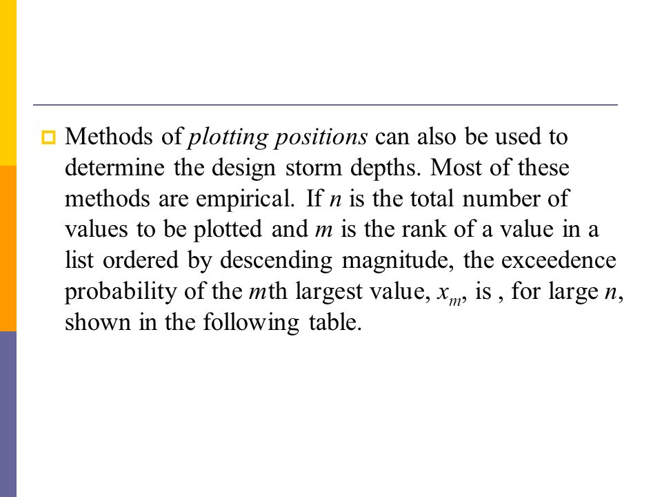 Methods of plotting positions can also be used to determine the design storm depths.