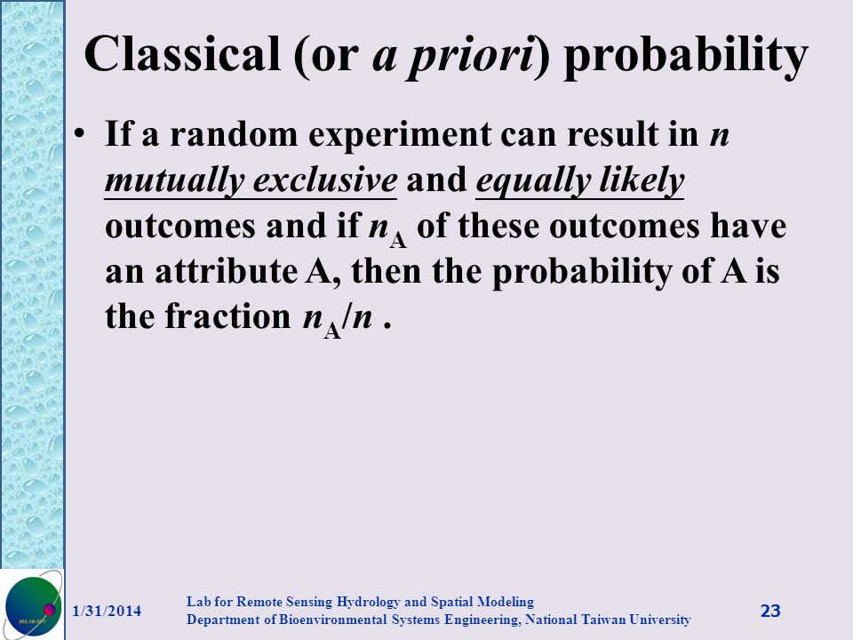 Classical (or a priori) probability