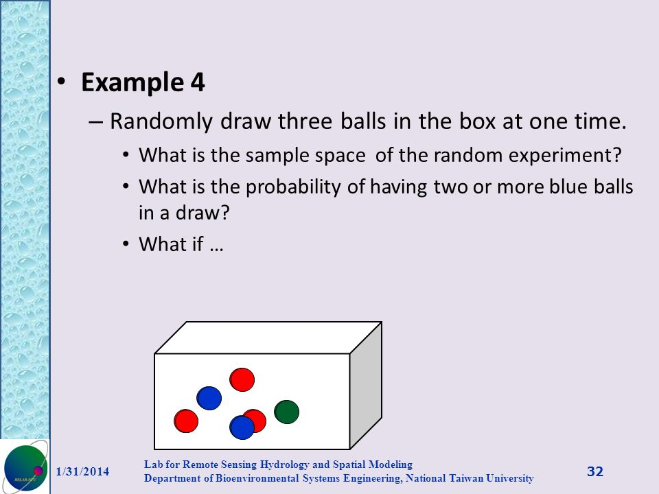 Example 4 Randomly draw three balls in the box at one time.