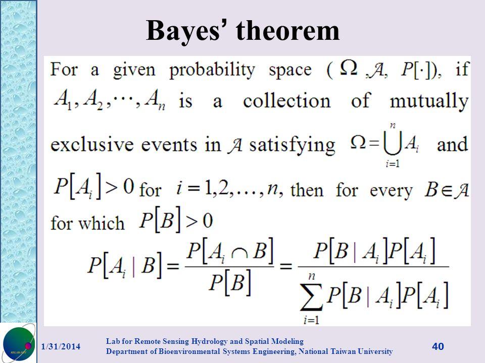 Bayes' theorem 3/27/2017.