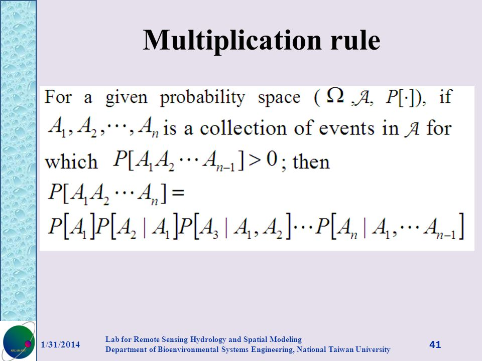 Multiplication rule 3/27/2017