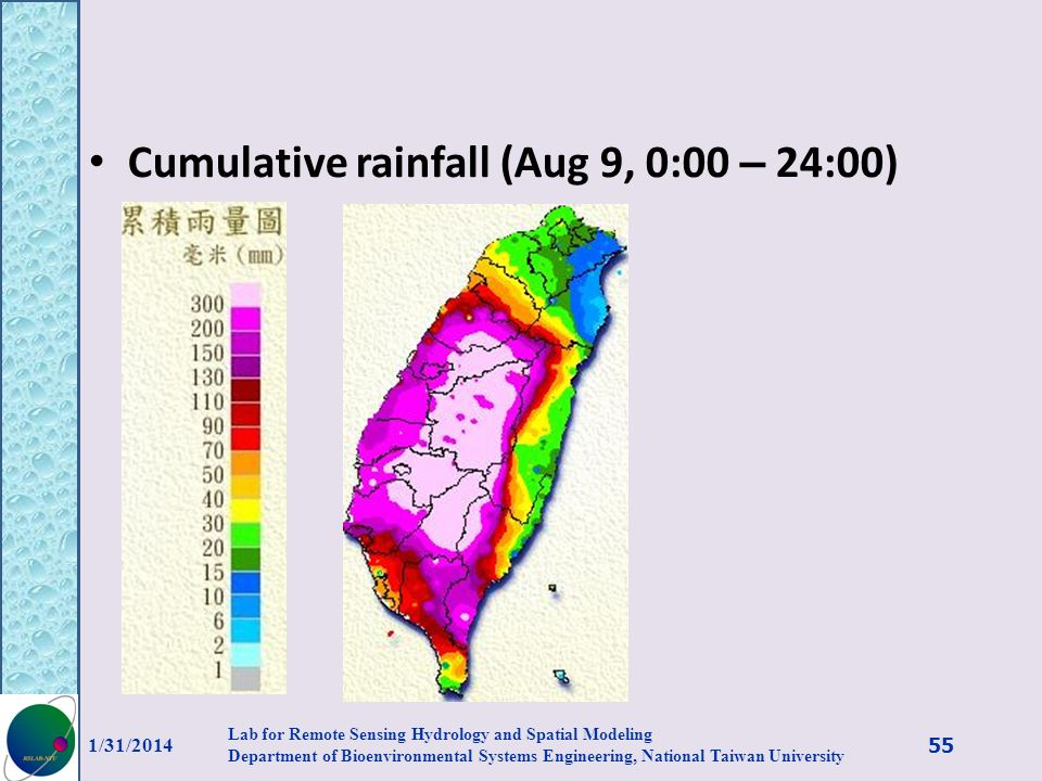 Cumulative rainfall (Aug 9, 0:00 – 24:00)