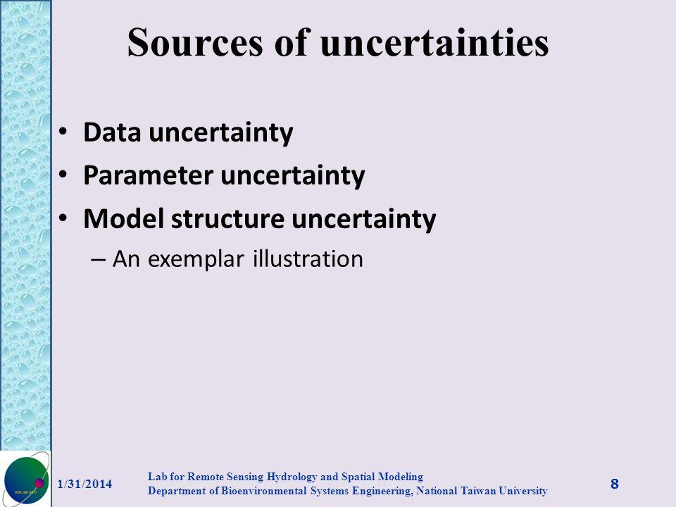 Sources of uncertainties