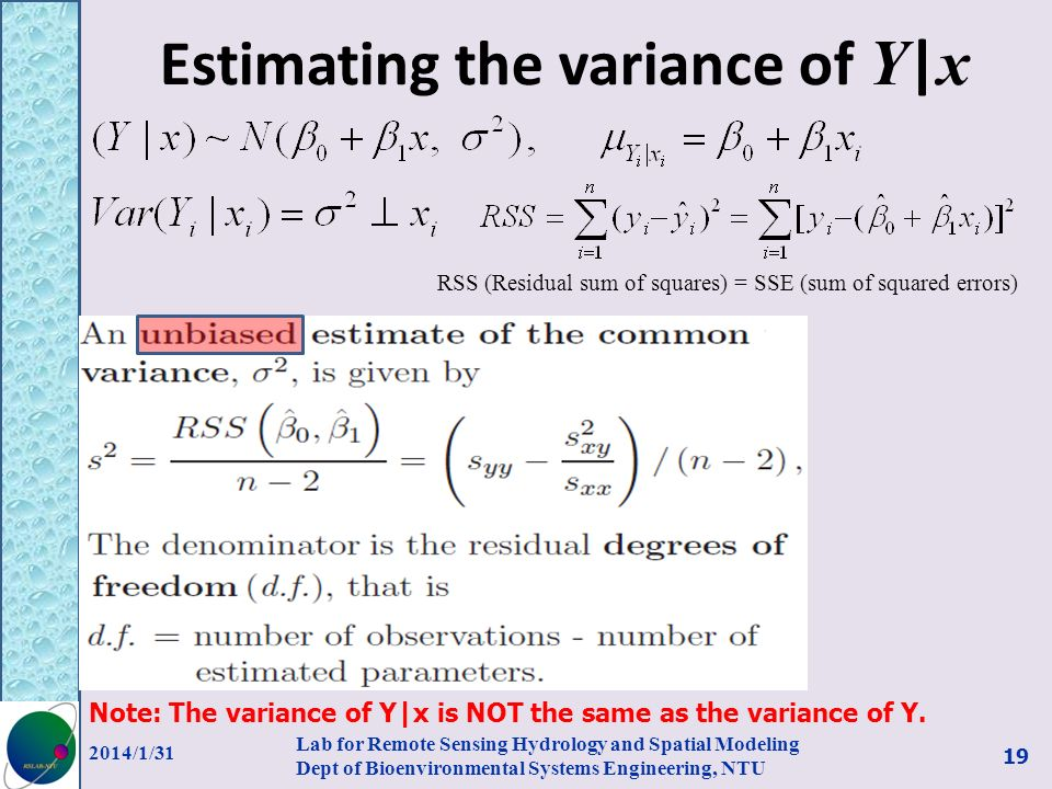 Estimating the variance of Y|x