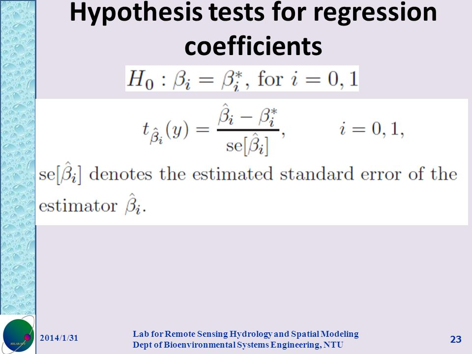 Hypothesis tests for regression coefficients