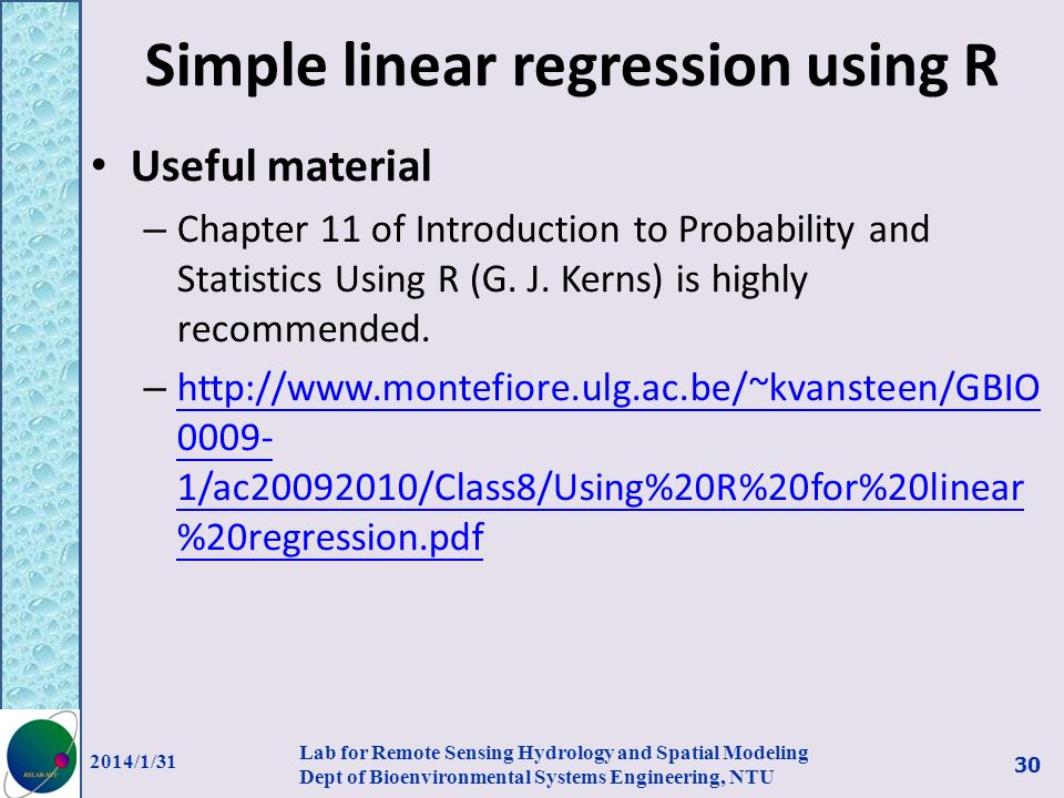 Simple linear regression using R