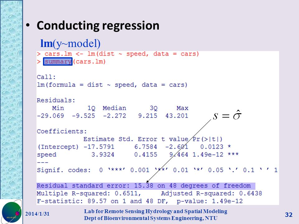 Conducting regression