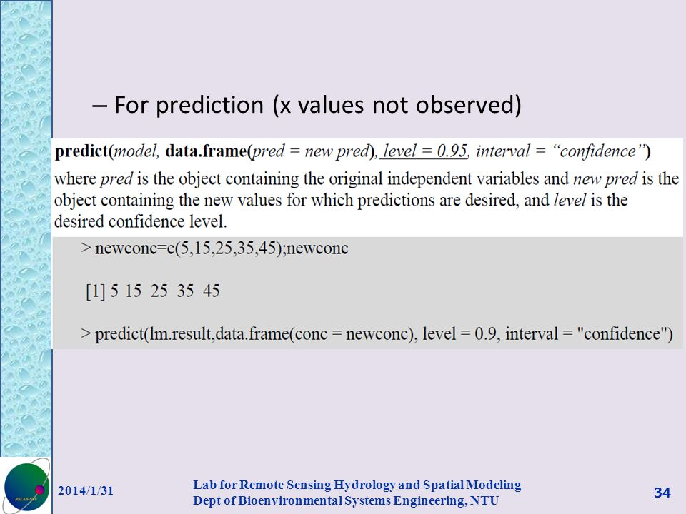 For prediction (x values not observed)