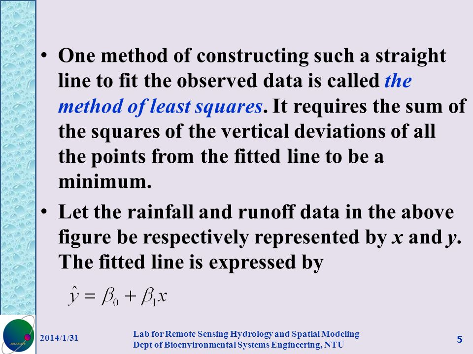 One method of constructing such a straight line to fit the observed data is called the method of least squares. It requires the sum of the squares of the vertical deviations of all the points from the fitted line to be a minimum.