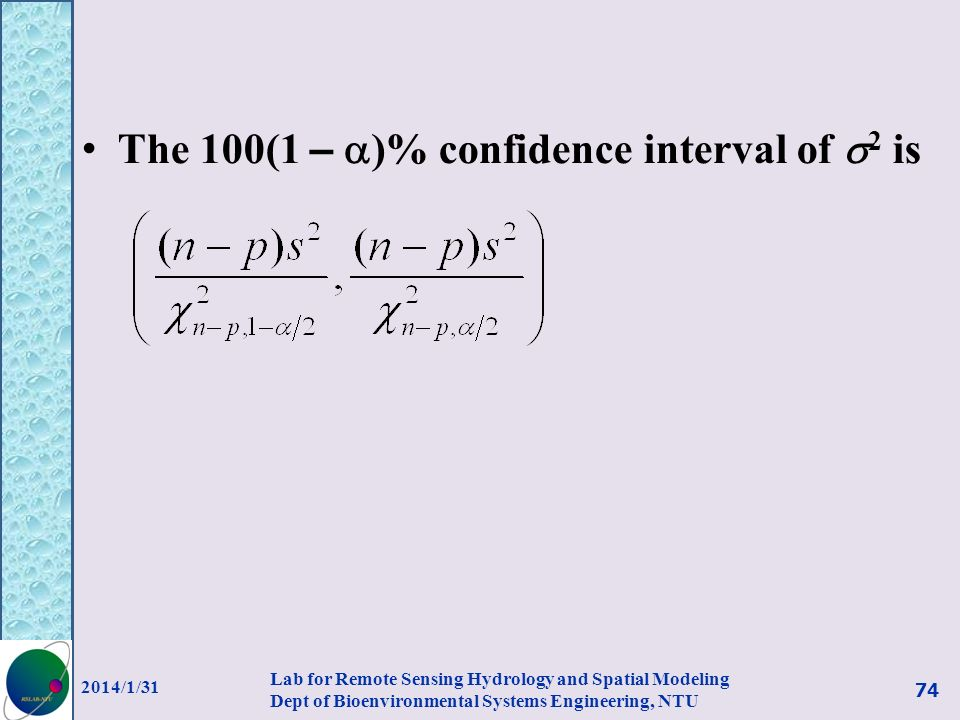 The 100(1 – )% confidence interval of 2 is