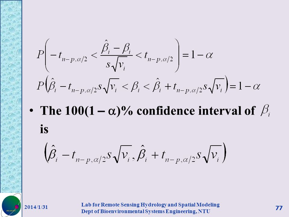 The 100(1 – )% confidence interval of is