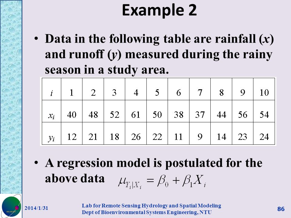 Example 2 Data in the following table are rainfall (x) and runoff (y) measured during the rainy season in a study area.