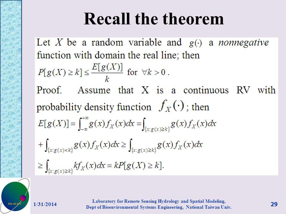 Recall the theorem 3/27/2017.