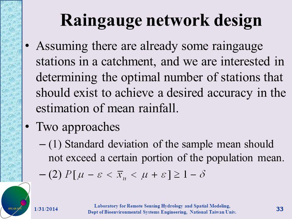 Raingauge network design
