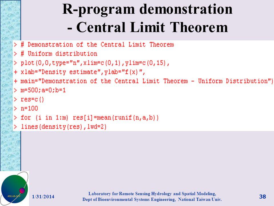 R-program demonstration - Central Limit Theorem