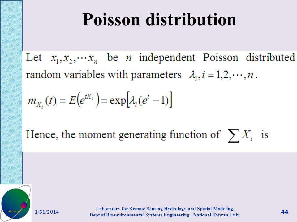 Poisson distribution 3/27/2017