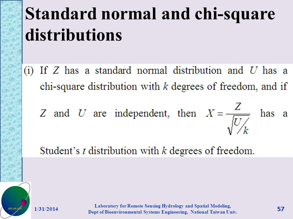 Standard normal and chi-square distributions