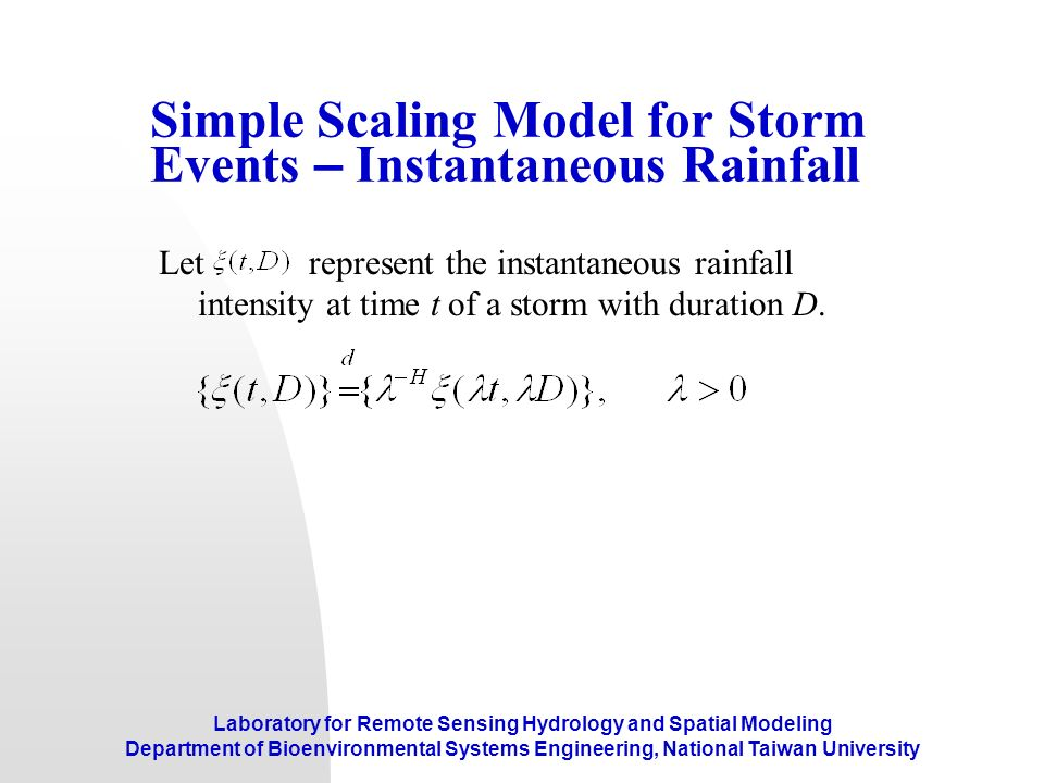 Simple Scaling Model for Storm Events – Instantaneous Rainfall