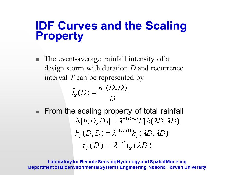 IDF Curves and the Scaling Property